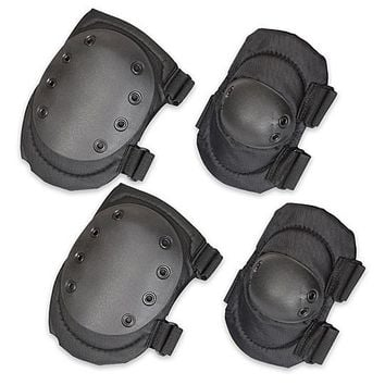Tactical Elbow & Knee Pad Set w/ Hard Shell - Black