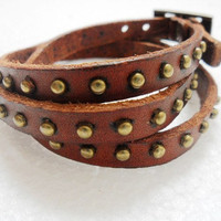 Rock  Punk Style Brown Leather and Bronze Alloy Buckle Cuff Bracelet  200A