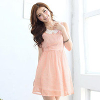 YESSTYLE: Tokyo Fashion- Sleeveless Crochet-Collar Striped Dress (Peach - One Size) - Free International Shipping on orders over $150