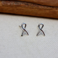 Sterling Silver Stud Earrings Tiny Ribbon. Remember. Show Support Ribbons. Cancer survivor.
