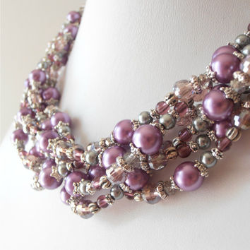 Chunky Necklace Pearl Multistrand Purple Pearl Necklace Beaded Jewelry in Antiqued Silver Bridal Jewelry Wedding Jewelry