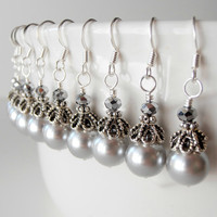 Wedding Jewelry Bridesmaid Earrings Bridesmaid Jewelry Gray Pearl Earrings in Antiqued Silver Beaded Dangles Bridesmaid Gift