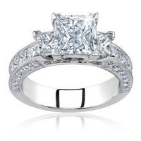 Amazon.com: Natural 2.50 Carat Princess Cut Certified Diamond Three 3 Stone Engagement Anniversary Ring 14k Gold Center 1.00 Carat D VS2-SI: Dino: Jewelry