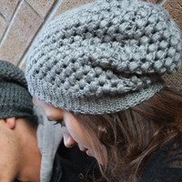 Crochet Slouchy Hat- Light Grey