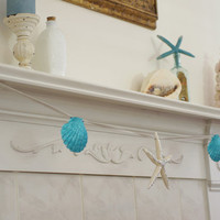 Beach Decor Garland -  Starfish and Seashell - Silver and Aqua Sparkling Garland