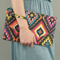 Multi Color Ethnic Wristlet Clutch