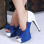 Bow-Accent Blue &amp; White Platform Pumps