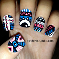 Blue and pink aztec eye nails