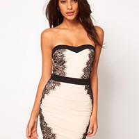Lipsy Contrast Bandage Dress at asos.com