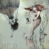 Fantasy Art Print - Mermaid Art Print - giclée  Fine Art PRINT - Steampunk Art - 7x7 Fantasy Art - Seahorse - by the Filigree