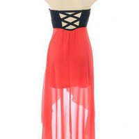 Black and Coral Strapless Dress with Asymmetrical Hemline