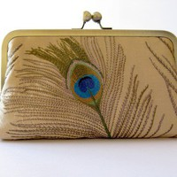 Silk Embroidered Peacock Clutch Bag in Gold by BagNoir on Etsy