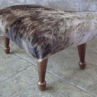 Vintage Wooden Cowhide Stool With Brindle Pattern Hide
