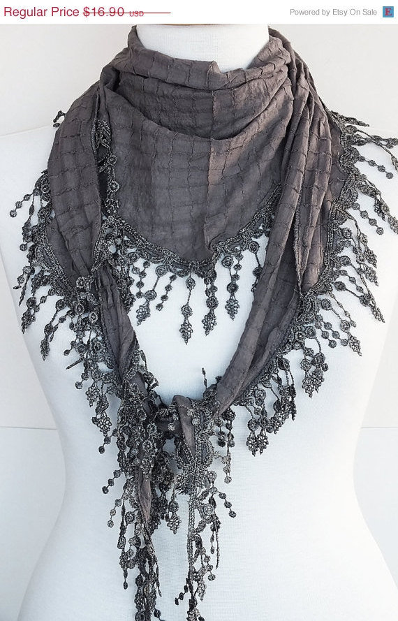 ON SALE GRAY Organic Cotton Scarf With Fringed Lace, Fashion, For Gift, Spring Sale