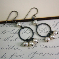 Eterniity Freshwater Pearl Earrings Oxidized Silver Circle Earrings