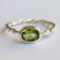 Oval Peridot Ring with Twist Band Sterling Silver Birthstone Jewelry