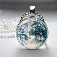 Earth Space Glass Tile Bezel Pendant Necklace
