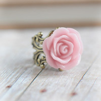 Medium Pink Rose, Flower Ring, Pink Bridesmaid
