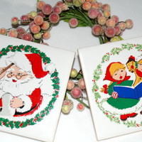 Ceramic Tile Trivets Jasco 1982 Christmas Decoration Collectible