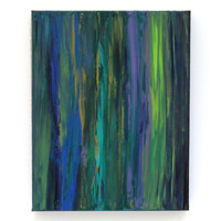 Modern Acrylic Abstract Painting Green Blue Purple 11x14 Canvas Fine Art by Nacene Prchal