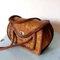 1950s PECAN tooled leather barrel bag