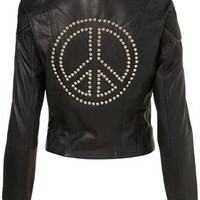 Peace Studded Leather Biker Jacket - Jackets & Coats  - Apparel