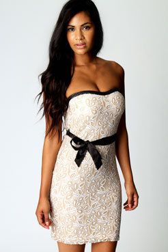 Alice Lace Bandeau Contrast Belt Dress