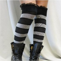 EH10 Black/Grey striped over knee socks