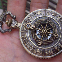Zodiac compass Pocket Watch Necklace (Big Size)