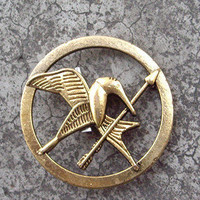 Brooch---golden The Hunger Games Inspired Mockingjay brooch with a pin at the back-antique golden