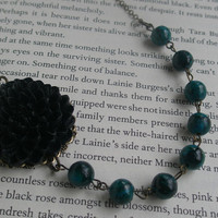 Black and teal flower bib necklace- Asymmetrical necklace- Black chrysanthemum necklace- Beaded necklace Teal beaded necklace- Fashion