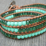 Mint Green Czech Glass Beaded Leather 3 Wrap Bracelet
