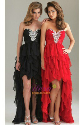 Sweetheart Red Layres Hi-low Prom Dress Fashion New Party Dress