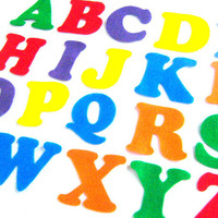 Rainbow Felt Alphabet Letters - Fabric Applique or Play - Upper Case - Educational - 3 inch die cut