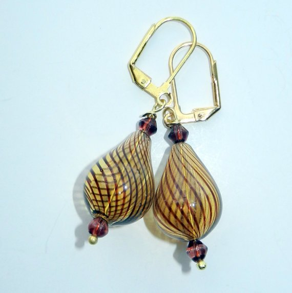 Brown Striped Glass Beaded Earrings