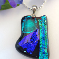 Dichroic Fused Glass Necklace Pendant Big and Bold Statement  Blue and Green Jewelry 501