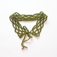 Fern Green Crocheted Lace Cottage Chic Collar Under 10 Detachable Collar