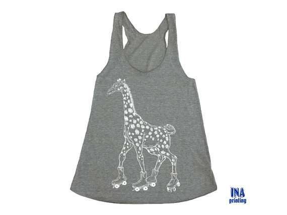 GIRAFFE Tank Top - Womens American Apparel Tri-Blend Racerback Coffee S M L  (3 Colors Available)