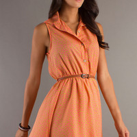 Sleeveless High Low Collared Dress