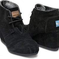 Black Suede Women&#x27;s Desert Wedges