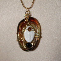 18&quot; Gold tone Wire Wrap Marble Glass with Carved Ox Bone Face