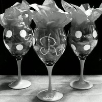 Hand Painted Wine Glasses  Polka Dots by WickedCourtni on Etsy