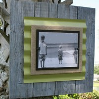 "Extra Large 22"" x 22"" Reclaimed White-washed Wood Frame with Asparagus Backboard"