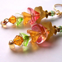 Flower Earrings, Lucite Glass Beads, Cascade Earrings, Yellow Orange Green Blossom Summer Spring Jewelry