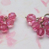 Vintage Pink Swarovski Crystal Drop Earrings