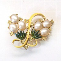 Vintage Pearl, Rhinestone and Enameled Brooch