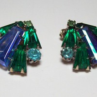 Vintage Blue and Green Rhinestone Earrings