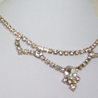 Vintage La Rel Clear Rhinestone Necklace