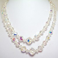 Vintage Swarovski Crystal Double Strand Necklace