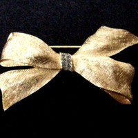 Crown Trifari Brushed Gold Bow Brooch with Rhinestone Accents
